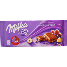 Milka - Milk Chocolate with Raisins and Nuts 100g