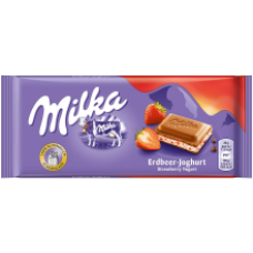 Milka - Milk Chocolate with Strawberry and Yogurt Filling 100g
