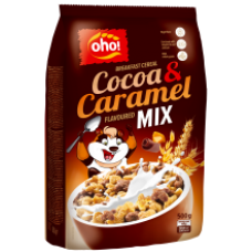 OHO - Cocoa Crunch and Caramel Breakfast Cereals Mix 500g