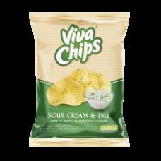 Viva - Sour Cream & Dill Flavour Crisps / Viva Chips Smantana & Marar 100g